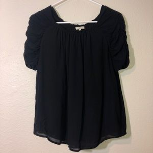 Joie Black Semi Sheer Blouse Top Lightweight Small